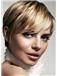 Blonde Short Straight Human Hair Capless Wigs 10 Inch