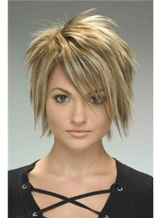 100% Human Hair Brown Short Straight Capless Wigs