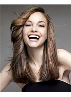 100% Lace Front Human Hair Sepia Medium Wavy Wigs 16 Inch