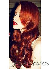 Virgin Brazilian Hair Red Long Wavy Lace Front Wigs