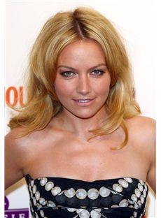 100% Human Hair Blonde Wavy Medium Full Lace Wigs 14 Inch (35.56 cm)