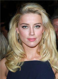 Blonde Medium Human Hair Wavy Lace Front Wigs