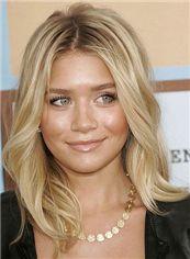 Full Lace Blonde Medium 100% Human Hair Wavy Wigs 16 Inch (40.64 cm)