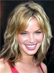 Virgin Brazilian Hair Blonde Medium Full Lace Wavy Wigs 14 Inch (35.56 cm)