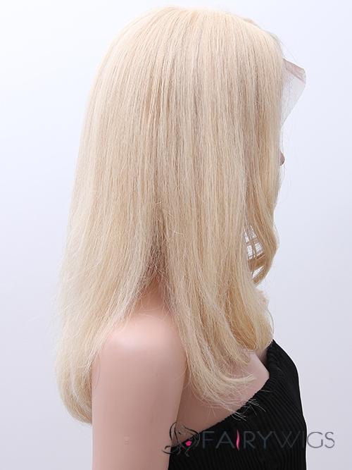 Blonde Full Lace 100% Human Hair Medium Wavy Wigs