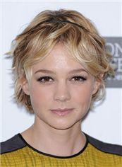 Blonde Short 100% Human Hair Wavy Full Lace Wigs
