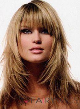 Ingenious Medium Blonde Female Celebrity Hairstyle Human Hair