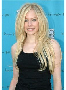 Trendy Long Blonde Lace Front Celebrity Hairstyle