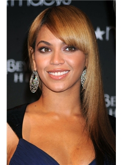 Fantastic Medium Brown Female Beyonce Knowles' Wigs Human Hair