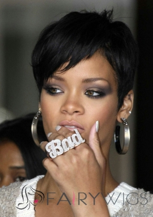 Faddish Short Black Female Celebrity Hairstyle Human Hair