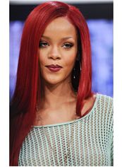 Modern Long Red Lace Front Celebrity Hairstyle