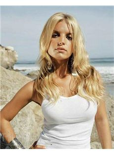 Lustrous Long Blonde Lace Front Celebrity Hairstyle Wigs