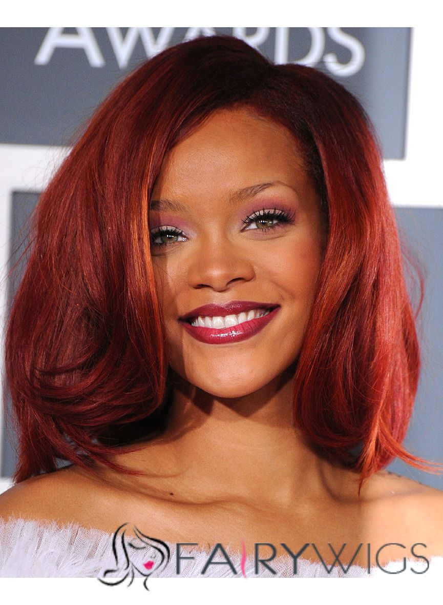 Chic Medium Red Lace Front Celebrity Hairstyle
