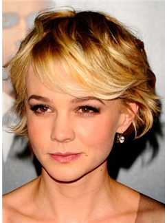 Layered Bob Wigs Short Blonde Female Celebrity Hairstyle 100% Human