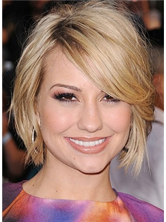 Cute Short Wigs Short Blonde Female Celebrity Hairstyle 100% Human Hair