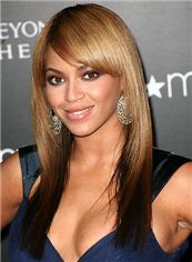 Capless Medium Brown Female Beyonce Knowles' Wigs 100% Human Hair