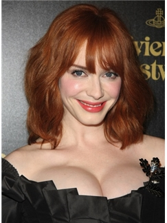 Real Human Medium Red Female Celebrity Hairstyle