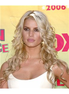 European Style Long Blonde Lace Front Celebrity Hairstyle