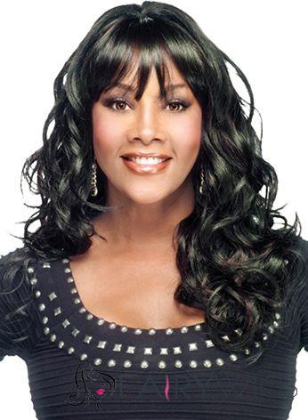 Outstanding Medium Wavy Black African American Wigs for Women