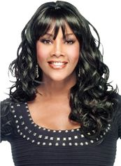 Outstanding Medium Wavy Black African American Wigs for Women