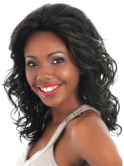 Wonderful Medium Wavy Black African American Lace Front Wigs for Women