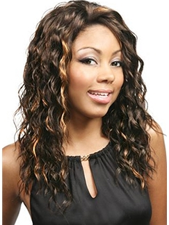 Sparkle Medium Wavy Brown African American Lace Front Wigs for Women Human Hair