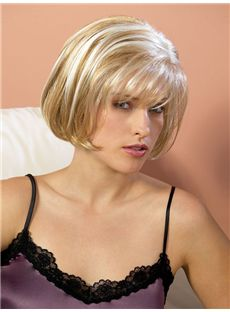 Fashion Cheap Human Hair Blonde Short Wigs