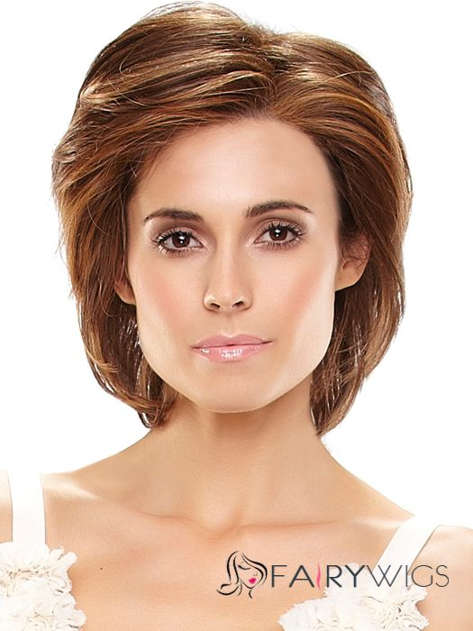 Wholesale Cheap Human Hair Brown Short Wigs