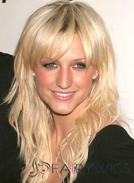Online Cheap Human Hair Blonde Medium Wigs