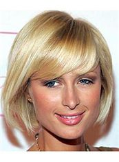 Graceful Cheap Human Hair Blonde Short Wigs
