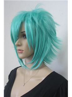 Soft Capless Short Synthetic Hair Blue Straight Cheap Costume Wigs