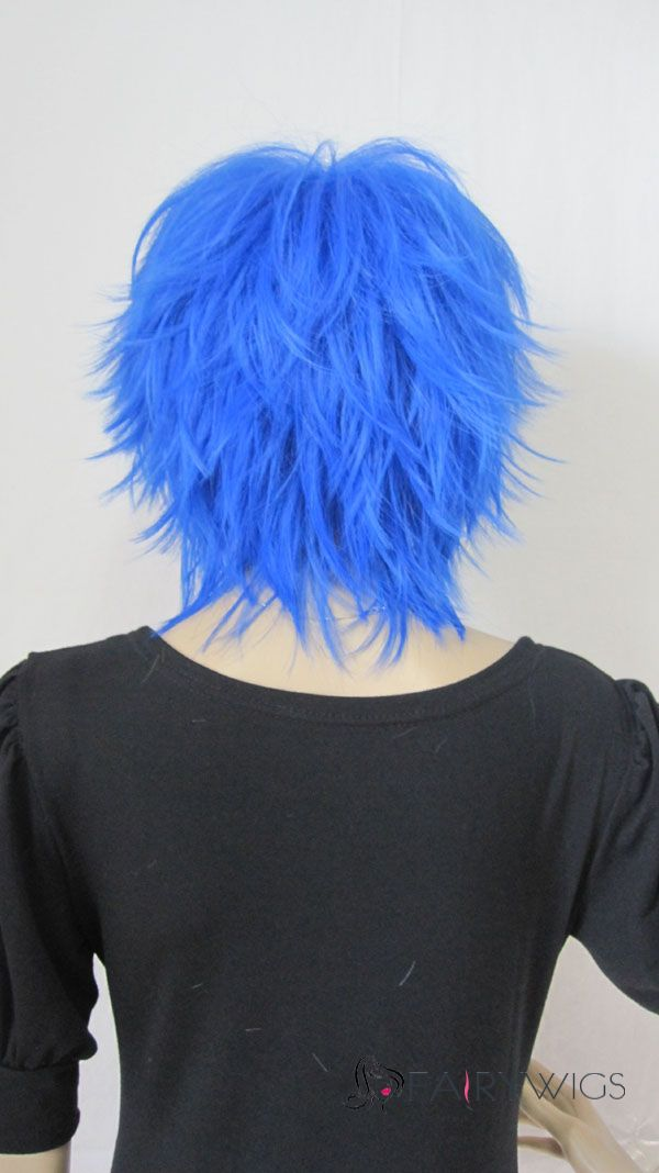 Gracefull Capless Short Synthetic Hair Blue Straight Cheap Costume Wigs
