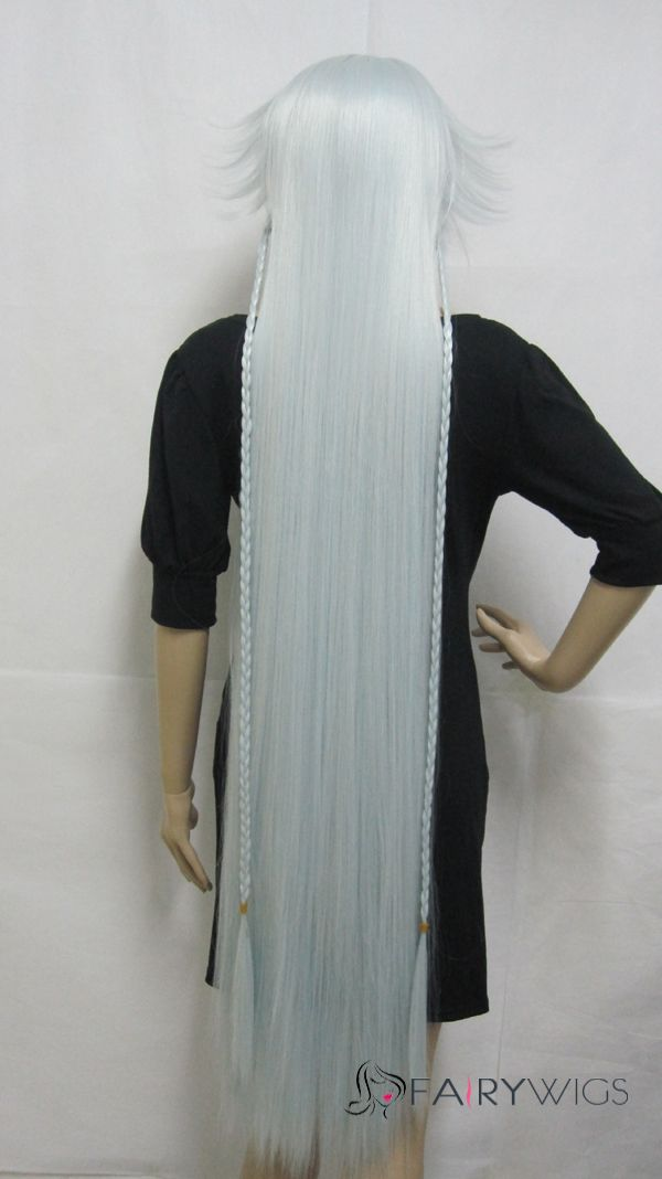 Capless Long Synthetic Hair White Straight Cheap Costume Wigs