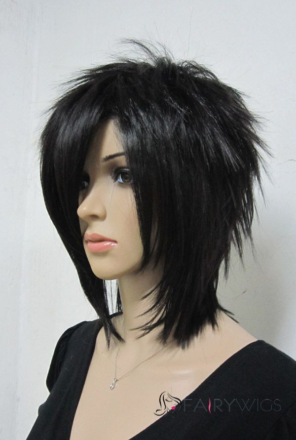 Ancient Capless Short Synthetic Hair Black Straight Cheap Costume Wigs