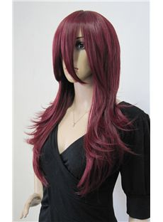 Hot Capless Long Synthetic Hair Red Wavy Cheap Costume Wigs