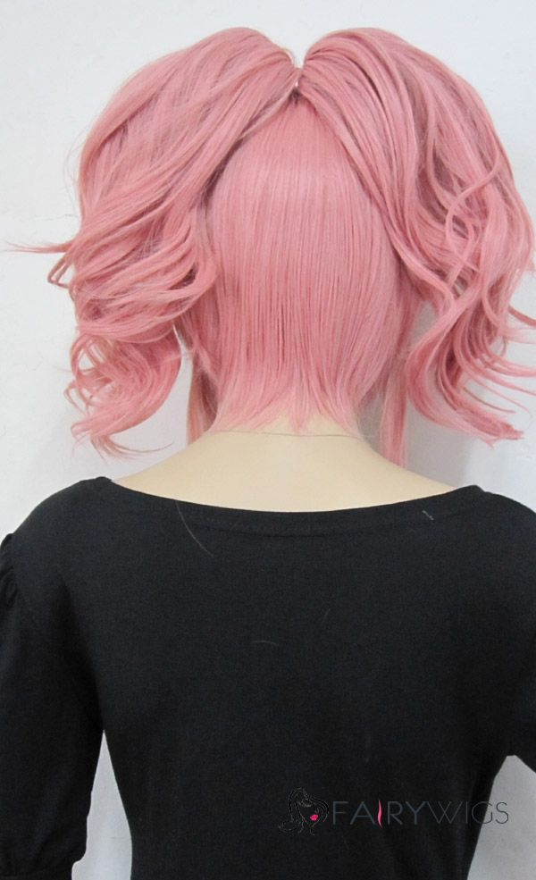 Cheap African American Wigs Capless Short Synthetic Hair Pink Wavy Cheap Costume Wigs