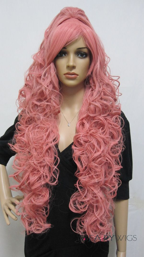 Cheap Capless Long Synthetic Hair Pink Wavy Cheap Costume
