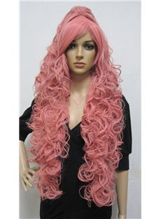 Cheap Capless Long Synthetic Hair Pink Wavy Cheap Costume Wigs
