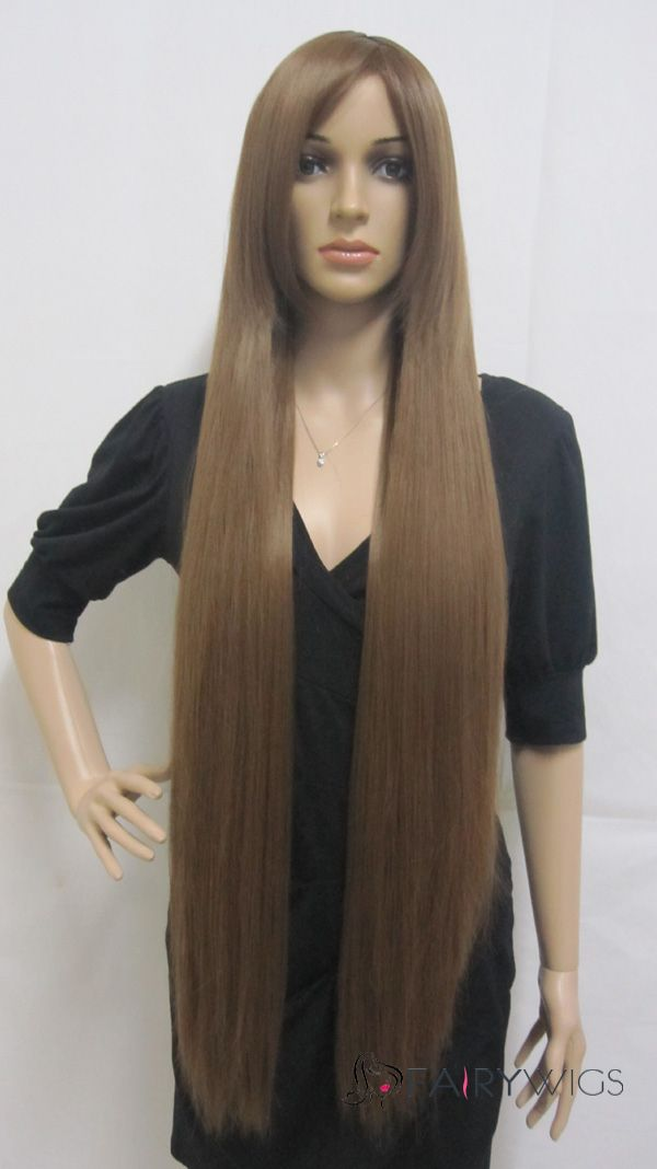 Fashion Capless Long Synthetic Hair Brown Straight Cheap ...