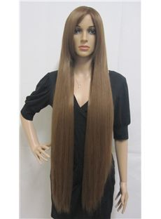 Fashion Capless Long Synthetic Hair Brown Straight Cheap Costume Wigs