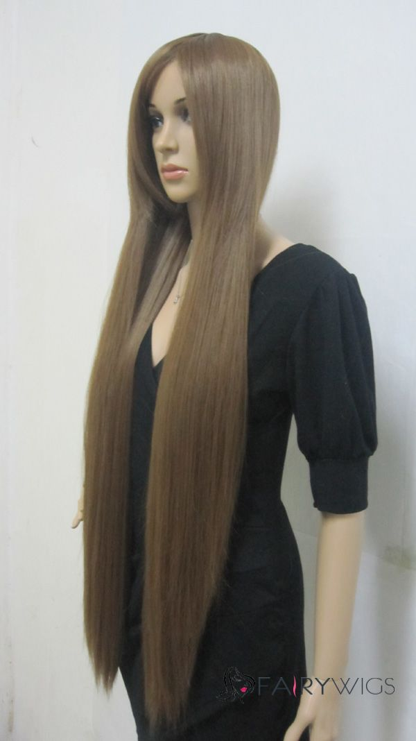 Fashion Capless Long Synthetic Hair Brown Straight Cheap