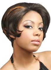 Adjustable Short Brown Lace Front 100% Indian Remy Hair Wigs for