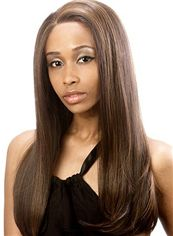 Prevailing Long Brown Lace Front 100% Indian Remy Hair Wigs for Black