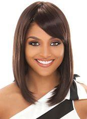 Graceful Medium Sepia Real Hair Wigs for Black Women