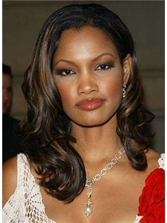 Cheap Asian Medium Black Lace Front Indian Remy Hair Wigs for Black Women