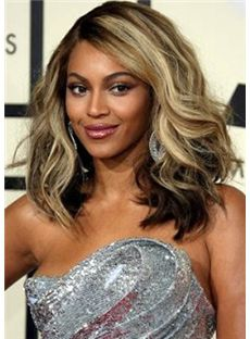 2013 New Medium Wavy Blonde Full Lace 100% Indian Remy Hair Wigs