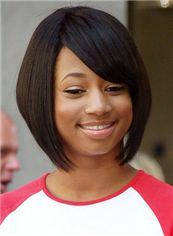 Classic Short Straight Sepia African American Wigs for Women