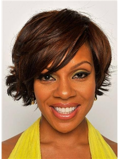 New Style Short Wavy Brown African American Wigs for Women