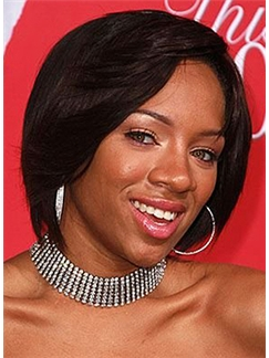 Lovely Short Wavy Sepia African American Lace Front Wigs for Women
