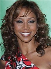 Fabulous Medium Wavy Sepia African American Lace Front Wigs for Women